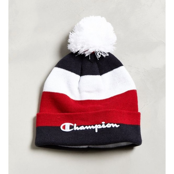 d0e5e218ff1 Champion Accessories - Champion Script Knit Pompom Beanie